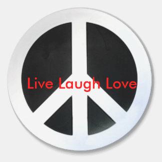 la paz, vive amor de la risa pegatinas redondas