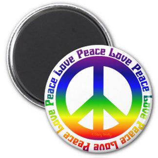 La paz y ama todos alrededor imán redondo 5 cm