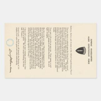 La pedido de Dwight D. Eisenhower del día (1944) Pegatina Rectangular