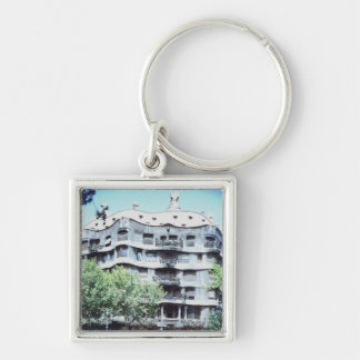 La Pedrera or Casa Mila, 1905-10 Silver-Colored Square Keychain