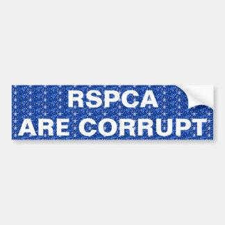 La pegatina para el parachoques RSPCA es corrupta Pegatina Para Auto