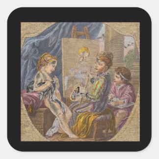 La Peinture', Charles Andre_Engravings Square Sticker