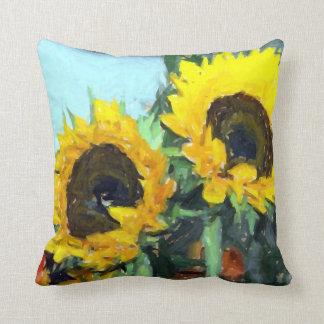 La peinture impressionniste de tournesol throw pillows