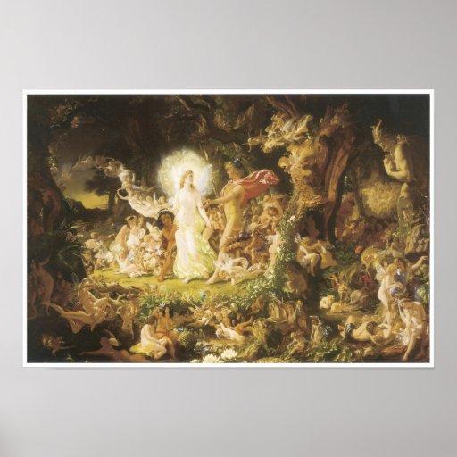 La pelea de Oberon y del Titania, 1849 Posters