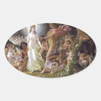 La pelea de Oberon y del Titania Pegatina Ovalada