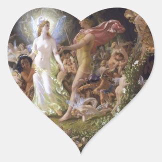 La pelea de Oberon y del Titania Pegatina En Forma De Corazón