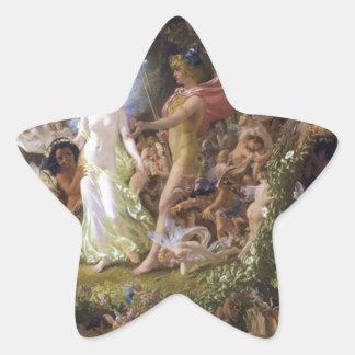 La pelea de Oberon y del Titania Pegatina En Forma De Estrella