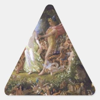 La pelea de Oberon y del Titania Pegatina Triangular