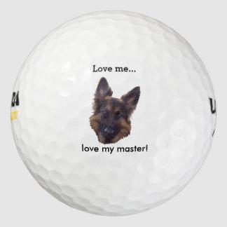 "La pelota de golf de GSD, ""me ama, ama mi amo"". Pack De Pelotas De Golf"
