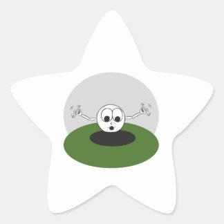 la pelota de golf divertida asustó entrar el calcomania forma de estrella personalizada