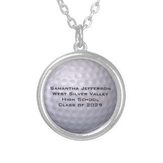 La pelota de golf personalizada se divierte collar plateado
