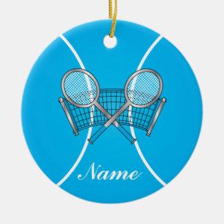 La pelota de tenis azul el | personaliza adorno navideño redondo de cerámica