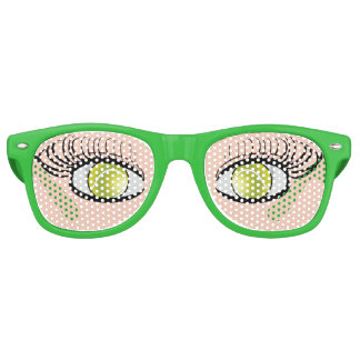 La pelota de tenis observa los vidrios divertidos gafas de fiesta