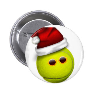La pelota de tenis sonríe en navidad pin redondo de 2 pulgadas