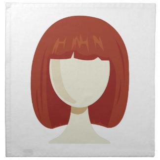 La peluca de la mujer servilletas imprimidas