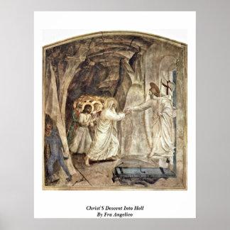 La pendiente de Cristo en infierno por Fra Póster