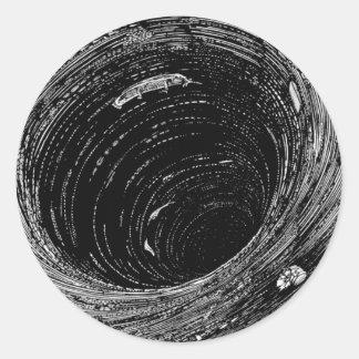 La pendiente de Edgar Allan Poe en el remolino Pegatina Redonda