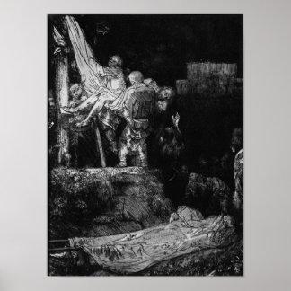 La pendiente de la cruz con una antorcha 1654 posters