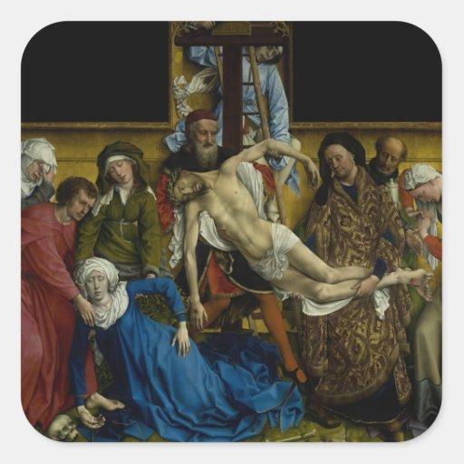 La pendiente de Rogier van der Weyden cruzado Pegatina Cuadrada