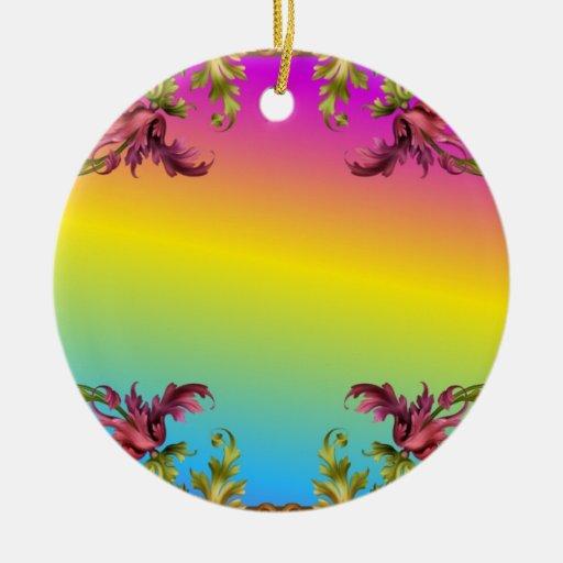 La pendiente del arco iris con los di púrpuras del adorno navideño redondo de cerámica