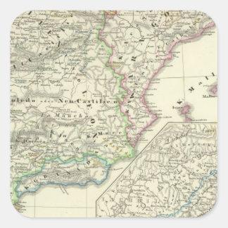 La península ibérica a partir de 1257 a 1479 calcomanías cuadradass personalizadas