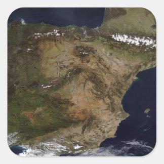 La península ibérica pegatina cuadradas personalizadas
