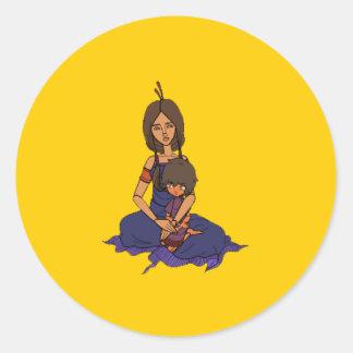 La pequeña animación 1 del soñador - madre y niño pegatina redonda