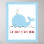 La pequeña ballena azul personalizó la impresión d impresiones