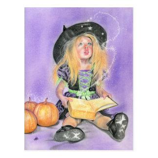 La pequeña bruja traviesa deletrea la postal