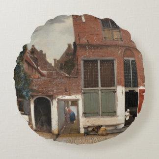 La pequeña calle de Juan Vermeer Cojín Redondo
