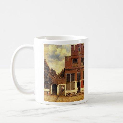La pequeña calle de Juan Vermeer Taza Básica Blanca