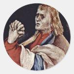 La pequeña crucifixión: Cristo en la cruz, Maria M Etiqueta Redonda