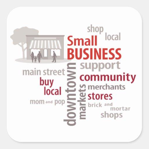 La pequeña empresa, hace compras Local, compra el Calcomanias Cuadradas