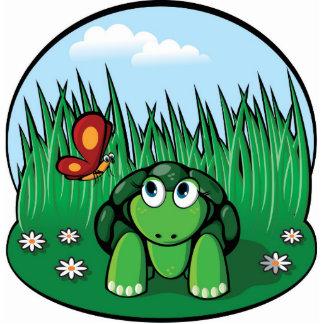 La pequeña escultura de la foto de la tortuga fotoescultura vertical