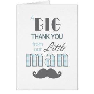 La pequeña fiesta de bienvenida al bebé del hombre tarjeta pequeña