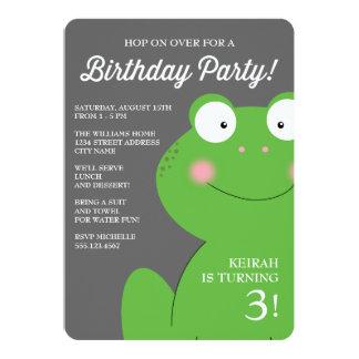 """La pequeña fiesta de cumpleaños linda del Froggy Invitación 5"""" X 7"""""""