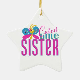La pequeña hermana más linda - mariposa adorno navideño de cerámica en forma de estrella