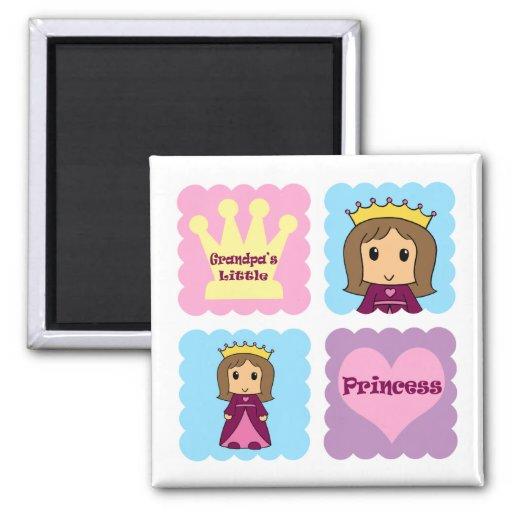 La pequeña princesa del abuelo imanes de nevera