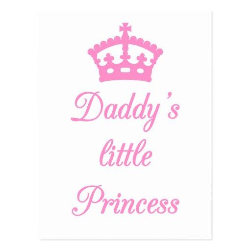 La pequeña princesa del papá, diseño del texto con tarjeta postal