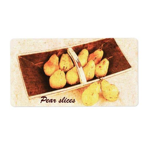 La pera preserva la etiqueta del tarro etiqueta de envío