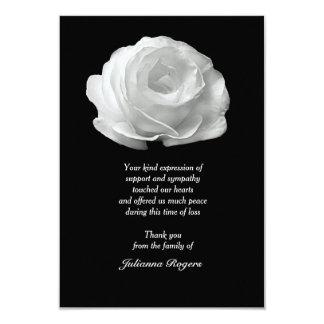"""La pérdida del rosa blanco le agradece Notecards Invitación 3.5"""" X 5"""""""