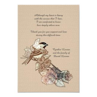 """La pérdida solitaria del pájaro le agradece invitación 3.5"""" x 5"""""""
