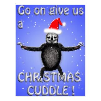 la pereza linda quiere una abrazo del navidad tarjeta postal