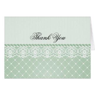 La perla y el cordón verdes elegantes el | le agra tarjeta de felicitación