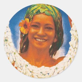 ~ La Perle du Pacifique de Tahití Pegatina Redonda