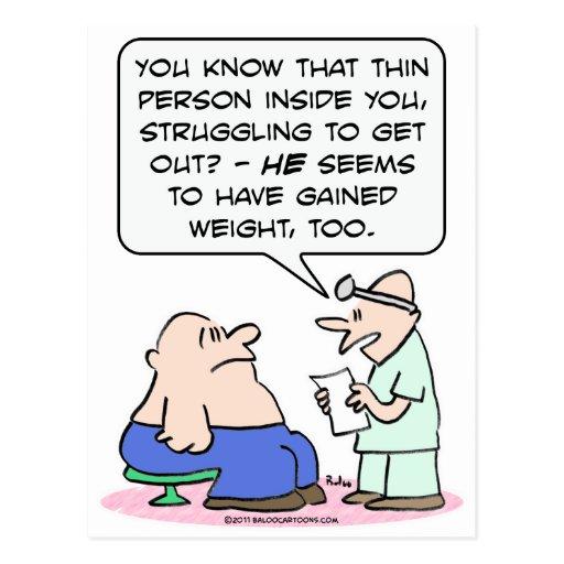 La persona fina en individuo gordo ha ganado el postal