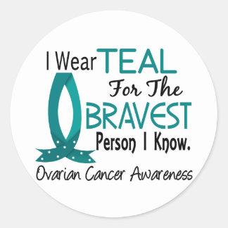 La persona más valiente conozco al cáncer ovárico etiqueta redonda