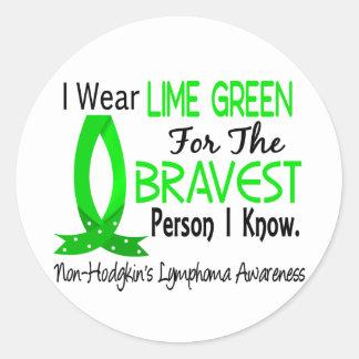 La persona más valiente sé linfoma Non-Hodgkin Pegatina Redonda