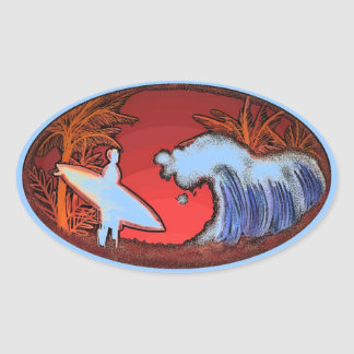 La persona que practica surf agita a los pegatinas colcomanias oval