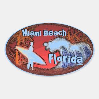 La persona que practica surf azul de Miami Beach Pegatina Ovalada